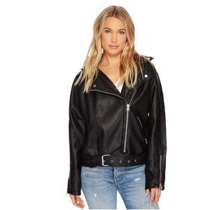 🆕 Free People Drapey Vegan Leather Moto Jacket